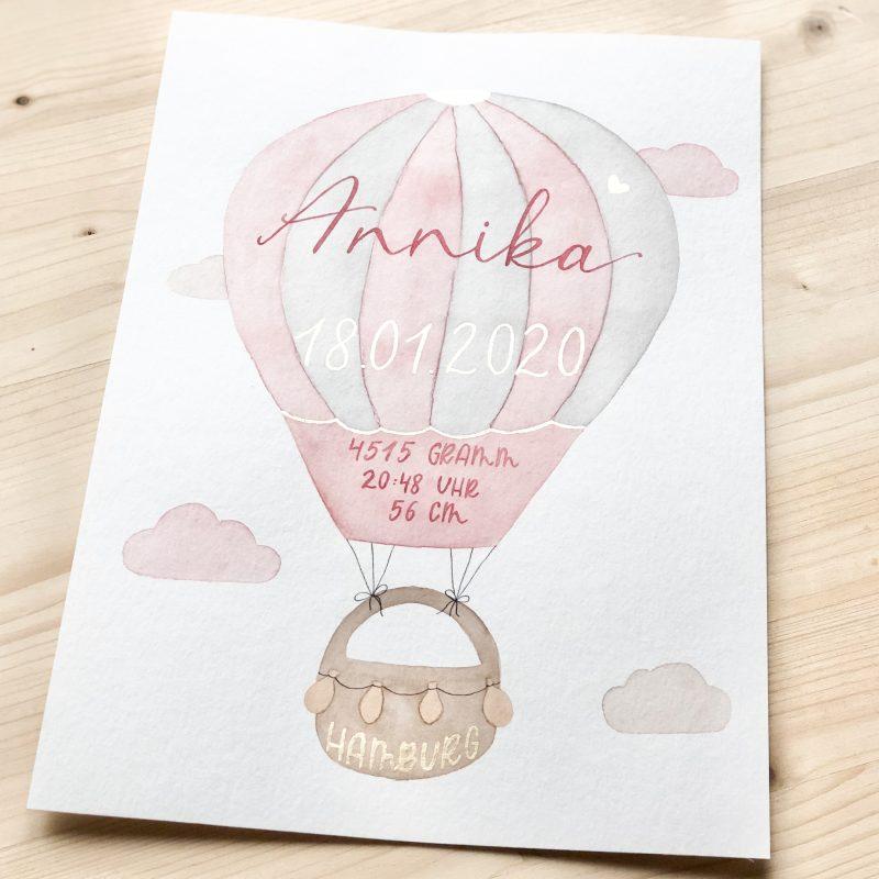 goldverliebt Aquarellbild Geburtsdatenbild, Heißluftballon rosa