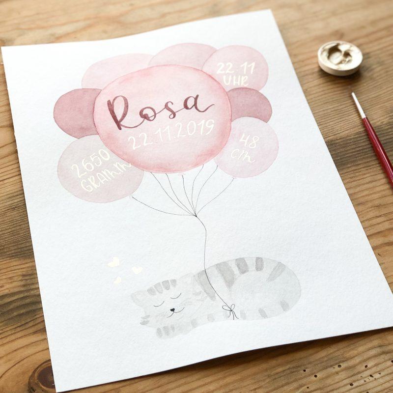 goldverliebt Aquarellbild Geburtsdatenbild, Katze mit Luftballons