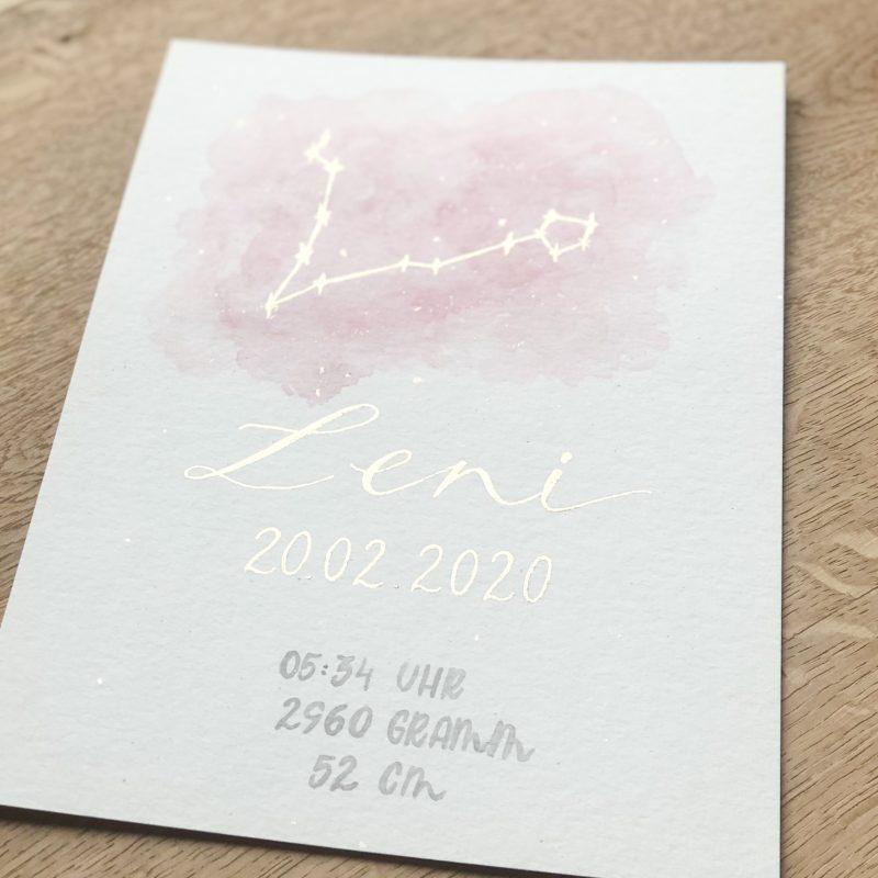 goldverliebt Aquarellbild Geburtsdatenbild, Sternenbild rosa