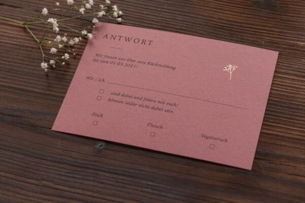 """Antwortkarte """"Schleierkraut"""" mit goldener Heißfolienprägung, altrosa dunkel"""