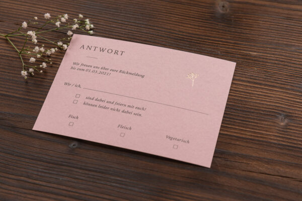"""Antwortkarte """"Schleierkraut"""" mit goldener Heißfolienprägung, altrosa hell"""