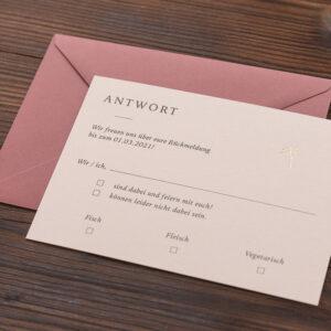 """Antwortkarte """"Schleierkraut"""" mit goldener Heißfolienprägung, Karte mit Umschlag"""