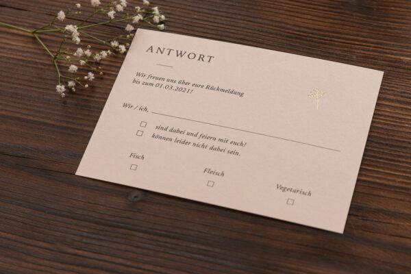 """Antwortkarte """"Schleierkraut"""" mit goldener Heißfolienprägung, sand"""