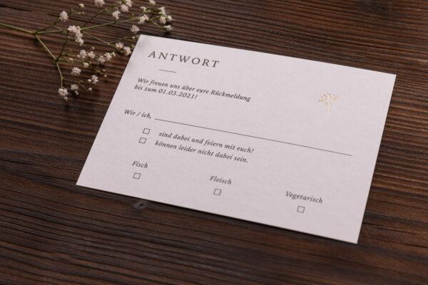 """Antwortkarte """"Schleierkraut"""" mit goldener Heißfolienprägung, warmes weiß"""