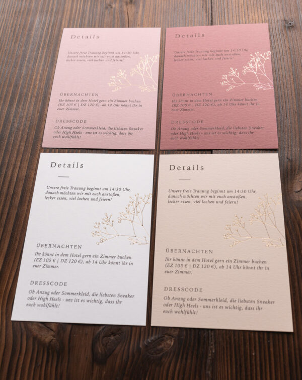 """Detailkarte """"Schleierkraut"""" mit goldener Heißfolienprägung"""