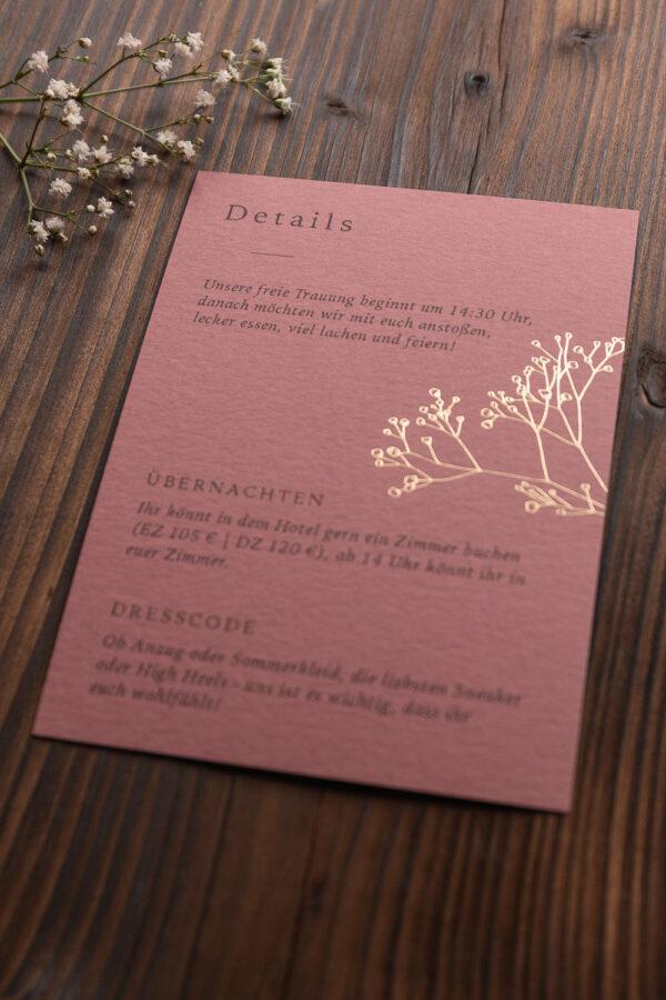"""Detailkarte """"Schleierkraut"""" mit goldener Heißfolienprägung, altrosa dunkel"""