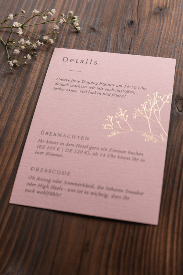 """Detailkarte """"Schleierkraut"""" mit goldener Heißfolienprägung, altrosa hell"""