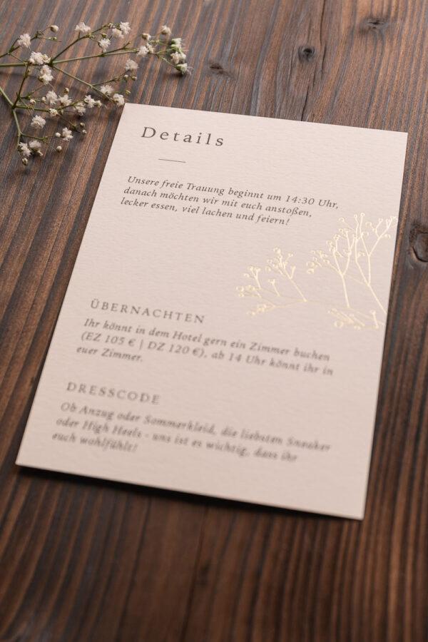 """Detailkarte """"Schleierkraut"""" mit goldener Heißfolienprägung, sand"""