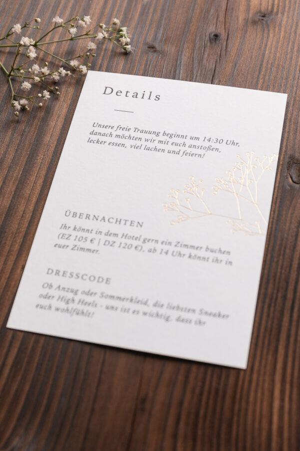 """Detailkarte """"Schleierkraut"""" mit goldener Heißfolienprägung, warmes weiß"""