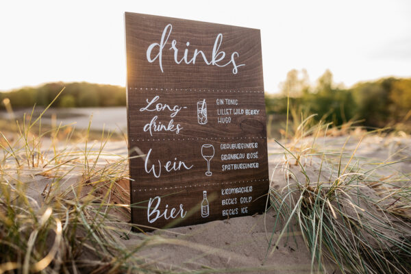 Getränkekarte aus Holz, Bar Menu, Kalligrafie