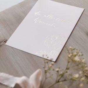 """Postkarte """"die allerbesten Wünsche"""", goldene Heißfolienprägung"""