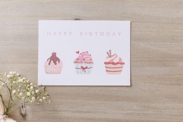 """Postkarte """"Happy Birthday"""" mit Cupcake-Illustration, Druck"""