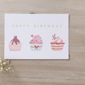 "Postkarte ""Happy Birthday"" mit Cupcake-Illustration, goldene Prägung"