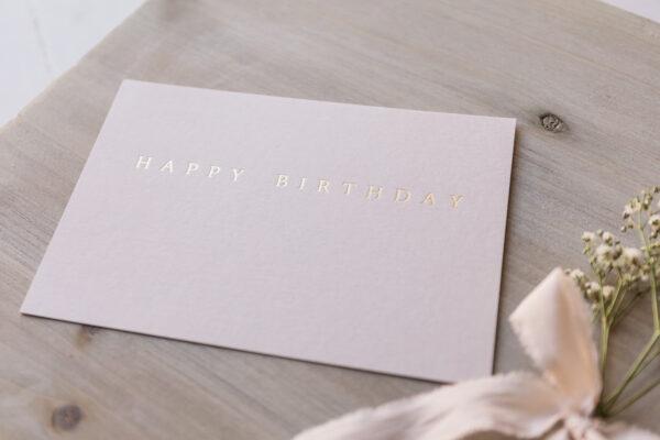 "Postkarte ""Happy Birthday"" mit goldener Heißfolienprägung, warmes hellgrau"