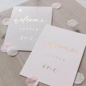 """Postkarte """"welcome little one"""" mit goldener Heißfolienprägung"""