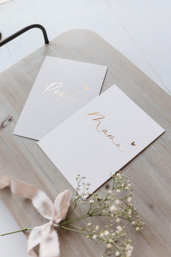 "Postkartenset ""Mama"" & ""Papa"" mit goldener Heißfolienprägung"