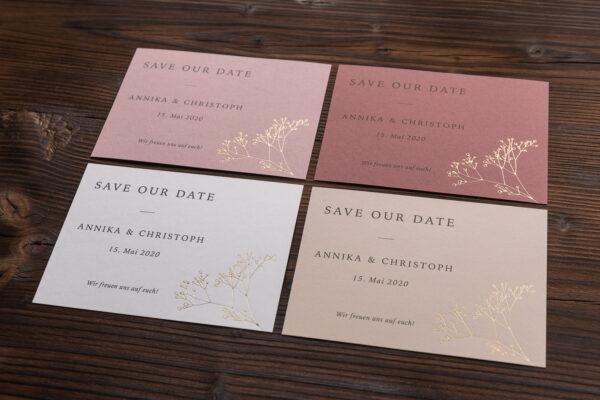 """save the date Karte """"Schleierkraut"""" goldene Prägung"""
