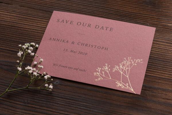 "save the date Karte ""Schleierkraut"" goldene Prägung, altrosa dunkel"