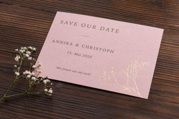 "save the date Karte ""Schleierkraut"" goldene Prägung, altrosa hell"
