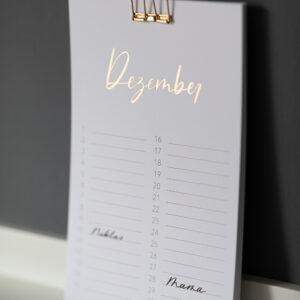 Geburtstagskalender mit goldener Heißfolienprägung, ewiger Kalender, Monat Dezember, glänzend