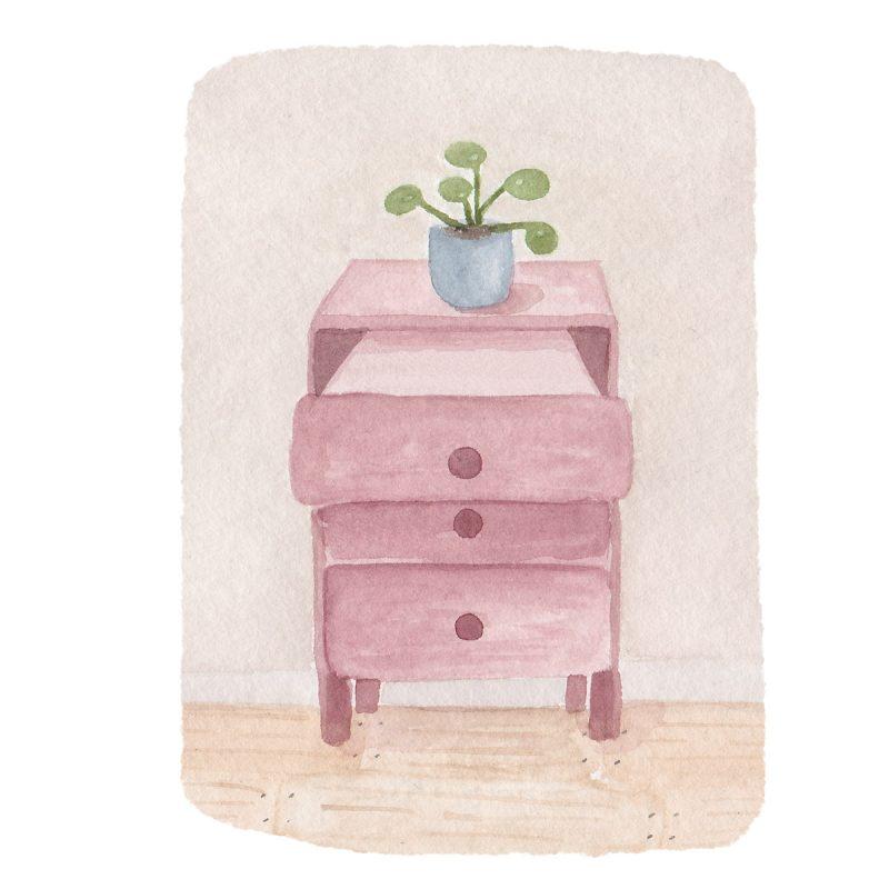 rosa Kommode mit offener Schublade für negative Gedanken