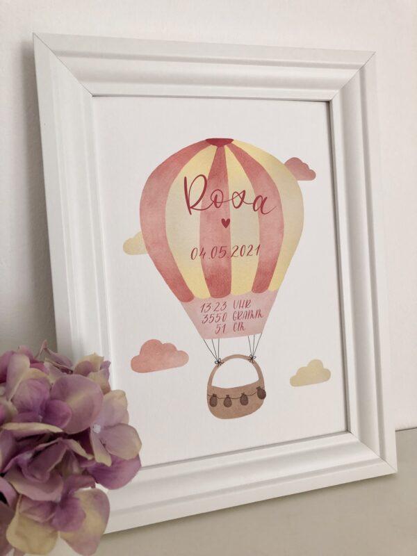 personalisierbares Geburtsbild mit rosa gelben Heißluftballon A4 im Bilderrahmen, Detailaufnahme