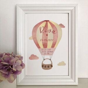 personalisierbares Geburtsbild mit rosa gelben Heißluftballon A4 im Bilderrahmen