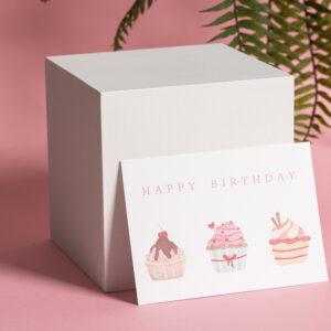 goldverliebt Karte happy birthday mit cupcake Illustration