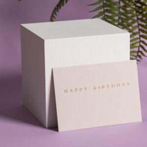 goldverliebt Karte happy birthday warmes hellgrau