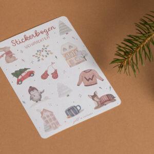 stickerbogen weihnachten, weihnachtliche Aquarellillustrationen