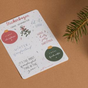 stickerbogen frohe weihnachten, weihnachtliche letterings