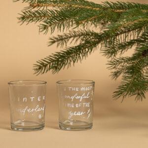 Teelichtglas von Hand beschriftet, weihnachtsgeschenk