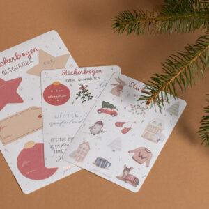 weihnachtliches stickerset, drei stickerbögen, Aquarellillustrationen
