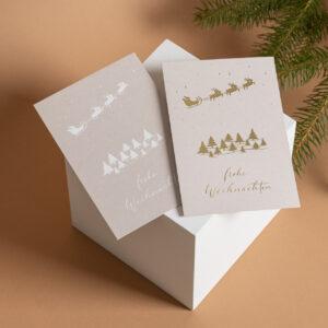 Weihnachtskarte frohe Weihnachten mit Heißfolienprägung, Winterlandschaft
