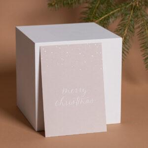 Weihnachtskarte merry christmas mit weißer Heißfolienprägung